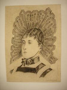 Dessin Original Xix Au Crayon. Signé Portrait De Femme En Coiffe Traditionnelle