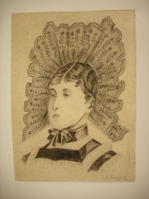 Disegno originale XIX per la matita. Firmato Ritratto di donna