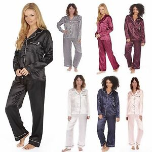 5885022108 womens Ladies Satin Pyjama Set Silky Summer Lounge wear Pajamas long ...
