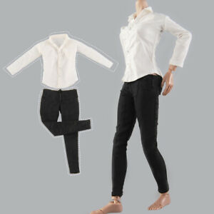 1//6 Pepper White Sleeve Shirt Black Leggings Clothes Set Fit 12/'/' Figure Body