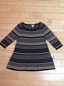 751acfd3a1b70 A Pea In The Pod Maternity Sweater Tan Black Striped Soft Top 3/4 ...