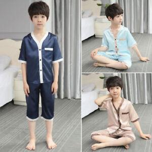 Kids Children Silk Satin Pajamas Pyjamas Boys Loungewear Sleepwear Set Nightgown