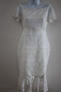 Lipsy-London-White-Bardot-Lace-Flute-Hem-Dress-Size-6-or-8