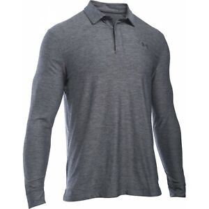 ed4d02f2d2 Details about Under Armour Men's Carbon Heather Gray UA Playoff Golf Long  Sleeve Polo Shirt