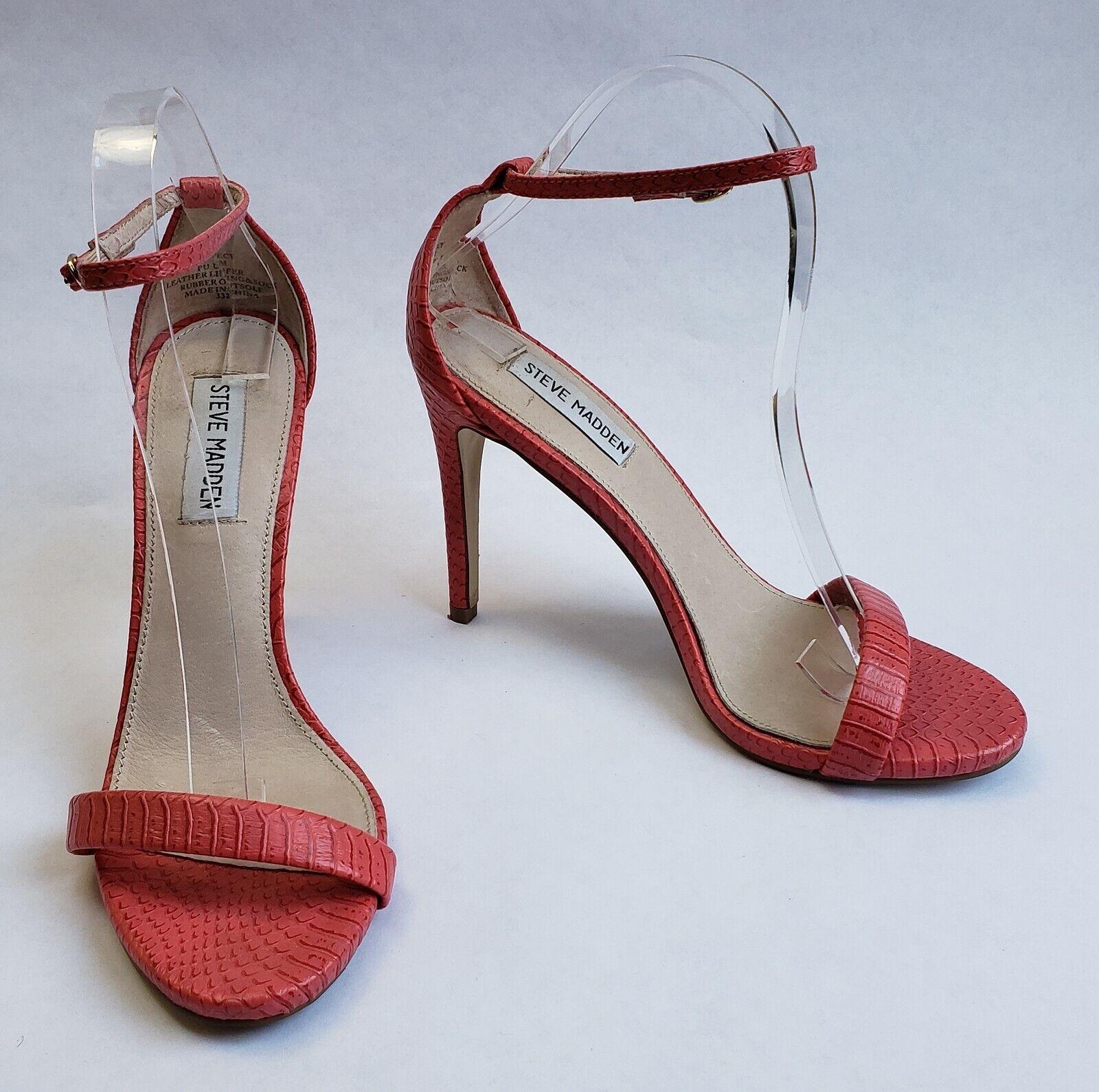 Steve Madden shoes Sandals orange Heels Snake Pattern Ankle Strap Womens Size 8M
