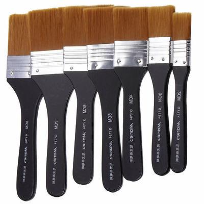 7 Models Flat Tips Artist Brush Nylon Hair Watercolor Paint Oil Painting Art Pen