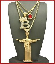 Set Lot of 3 Necklace Pendant Box Chain Iced Out Gold Hip Hop B Praying Man NEW
