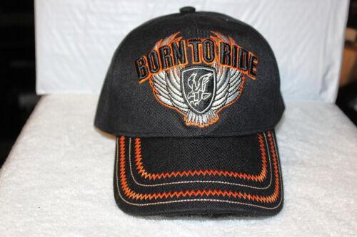 BLACK BORN TO RIDE WINGS BIKER EAGLE MOTORCYCLE BASEBALL CAP
