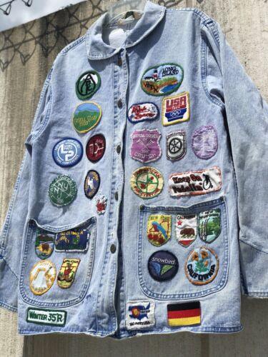 Vintage LL Bean Jean Jacket Patches Patchwork 80s