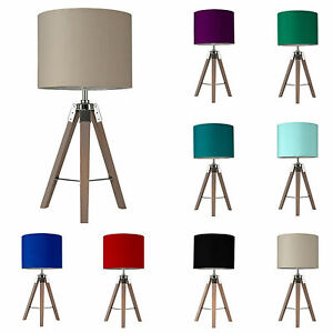 Wooden marine tripod table lamp modern light bedroom bedside drum image is loading wooden marine tripod table lamp modern light bedroom aloadofball Image collections