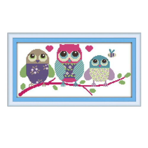 Prettyia Three Owls Stamped Cross Stitch Kit 14CT Cloth for Beginners DIY Kits