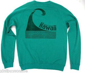 Lightning Bolt Surfing Crew Neck Sweatshirt ALOHA Teal Blue Surf Hawaii Bolt