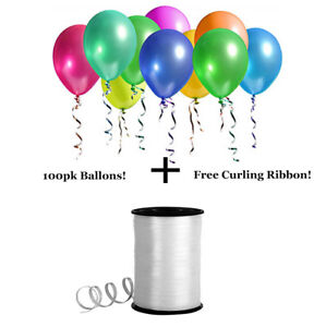 100pk-Assorted-Transparent-Party-Balloons-500-yds-White-Curling-Ribbon-Pack