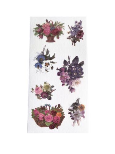 3 Sheets of Vintage Victorian Floral Ephemera Vellum Paper Stickers Scrapbooking
