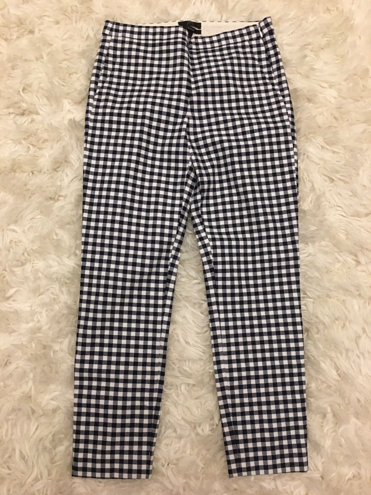 New J Crew Martie Pant in Gingham Navy Ivory Sz 2 E9564