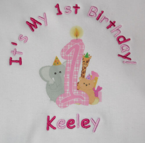 PERSONALISED BABY 1ST BIRTHDAY BIB NUMBER 1 AND ANIMALS DESIGN L@@K!!!!