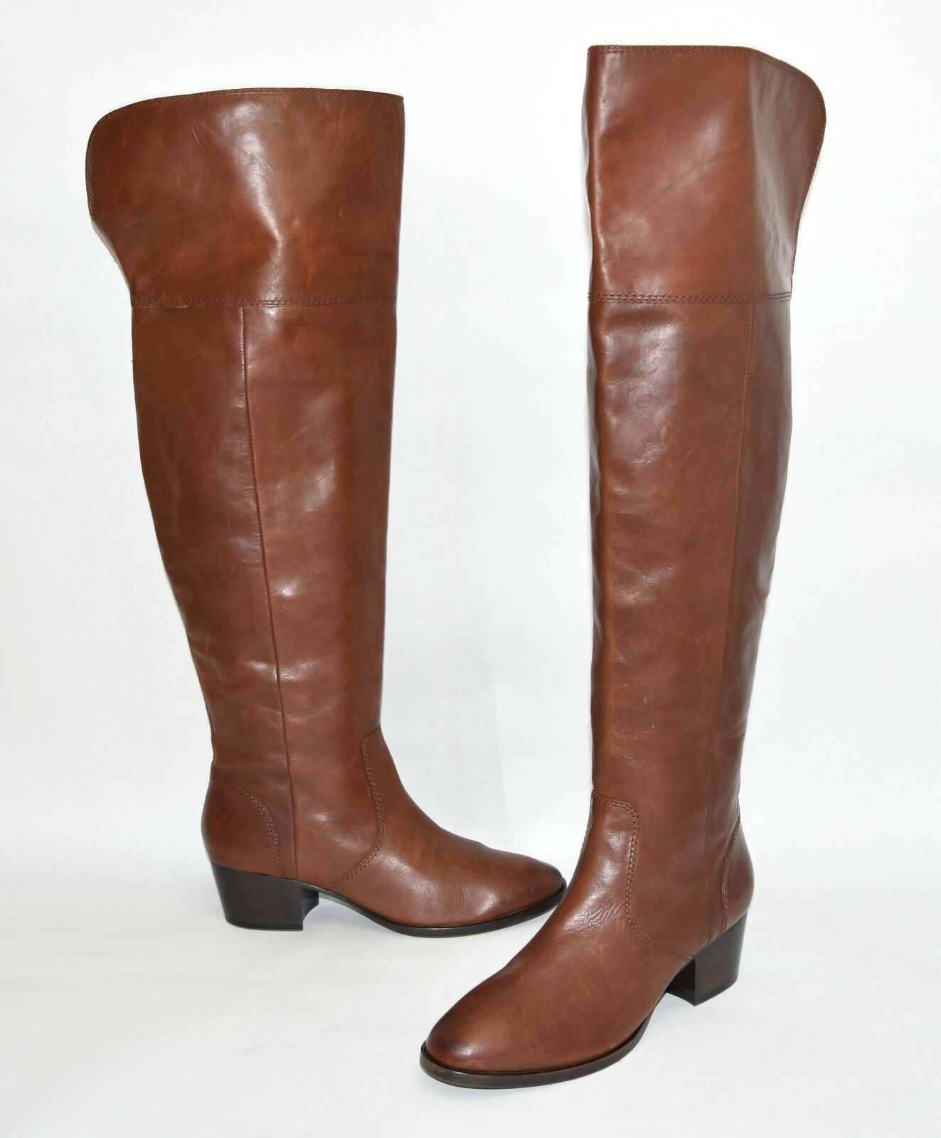 New Frye Clara Over the Knee Boot Cognac EXT Wide Calf Leather 3475371 Size 8.5