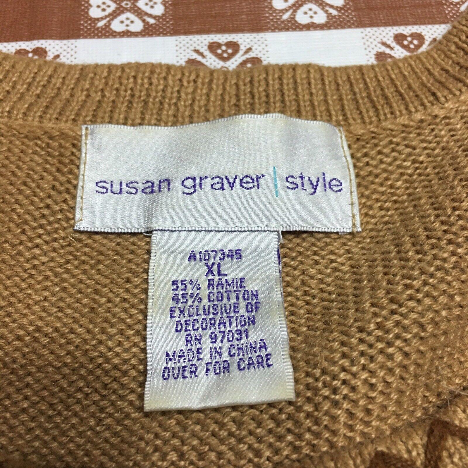 Susan Susan Susan Graver Sweaters XL Ramie Cotton Embroidered Palm Trees Beads Christmas 6d94d8