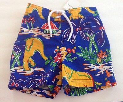 NWT Ralph Lauren Boys Elephant Blue Tropical Bathing Suit Sizes 9 and 12 months