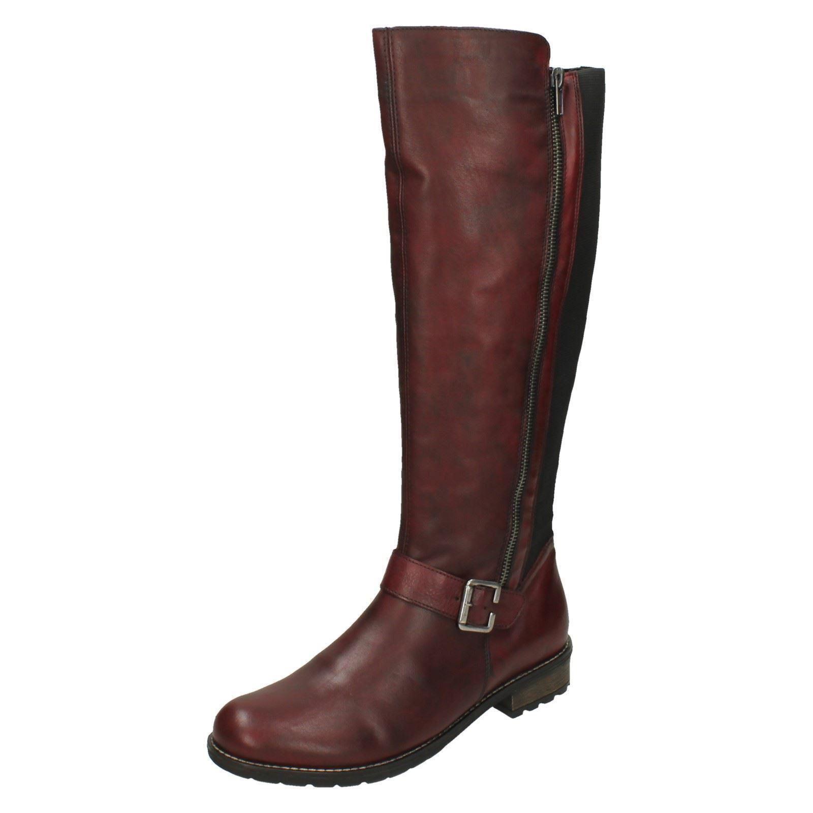 Damen Remonte R3358 rotes Leder warm warm warm gefüttert lange Stiefel d97084