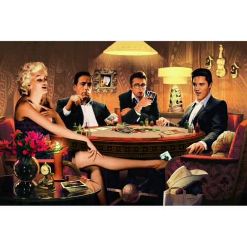 Marilyn Monroe James Dean Elvis Presley Humphrey Bogart Playing Card Silk Poster