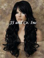 Long Heat Safe Curly Human Hair Blend Black Layered Wig Wbnk 1