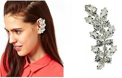 New Fashion Punk Silver Tone Full Rhinestone Leaf Ear Cuff Clip No Puncture 1PC