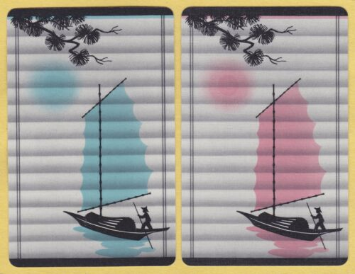 2 Single VINTAGE Swap//Playing Cards ORIENTAL SAIL BOAT ID /'SAMPAN TM-8-8/'