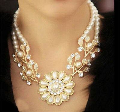 Charm Jewelry Crystal Pearl Flower Bib Choker Statement Necklace women gift