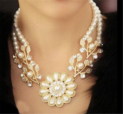 Charm Jewelry Crystal Pearl Flower Bib Choker Statement Necklace women gift