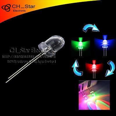 50pcs 10mm Water Clear Round Emitting Diode RGB LED Lamps RGB Slow Flashing