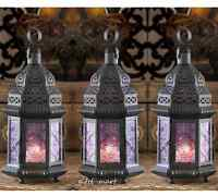 3 Lot Moroccan 11 Black Purple Candle Holder Lantern Outdoor Wedding Decoration