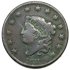1831-Lg-Letters-Matron-or-Coronet-Head-Large-Cent-Coin-1c