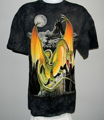 NEW MENS THE MOUNTAIN DRAGON IN MOONLIGHT T SHIRT XLARGE HAND DYED USA CASTLE