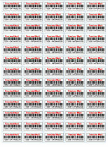 Fake Tracked Mail Bar Code Labels - Reduces Fraudulent Non Delivery Claims