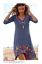 JOHNNY-WAS-Embroidered-JWLA-V-Neck-BRONWYN-Wheat-Flounce-3-4-Sleeve-Dress-S thumbnail 7