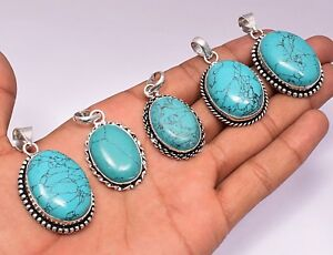 Turquoise-Pendant-Wholesale-Lot-925-Sterling-Silver-Overlay-50pcs-Pendants