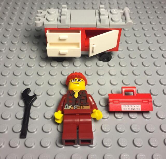 Lego New Construction Worker,Repairman,Handyman W// mechanic Tools Trolley Cart