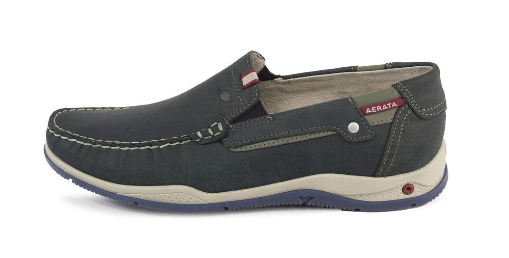 Chaussures Mocassins Grisport Véritable Cuir Homme 42605 Avec Bleu Mer En Italie