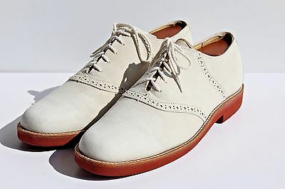 Churchill 8.5N Gentleman's White Reverse Calf / Suede Saddle Shoe Bucks- England
