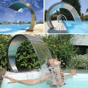 Details about Swimming Pool Waterfall Fountain Stainless Steel Water  Feature Garden Pool Decor