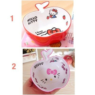 Sturdy Construction apple Shape Steady Lovely Hello Kitty Melamine Rice,salad & Soup Bowl For Kids 450ml