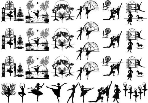 """Black Ballet Ballerina 5/""""X7/"""" Card Fused Glass Ceramic Decals 14CC411"""