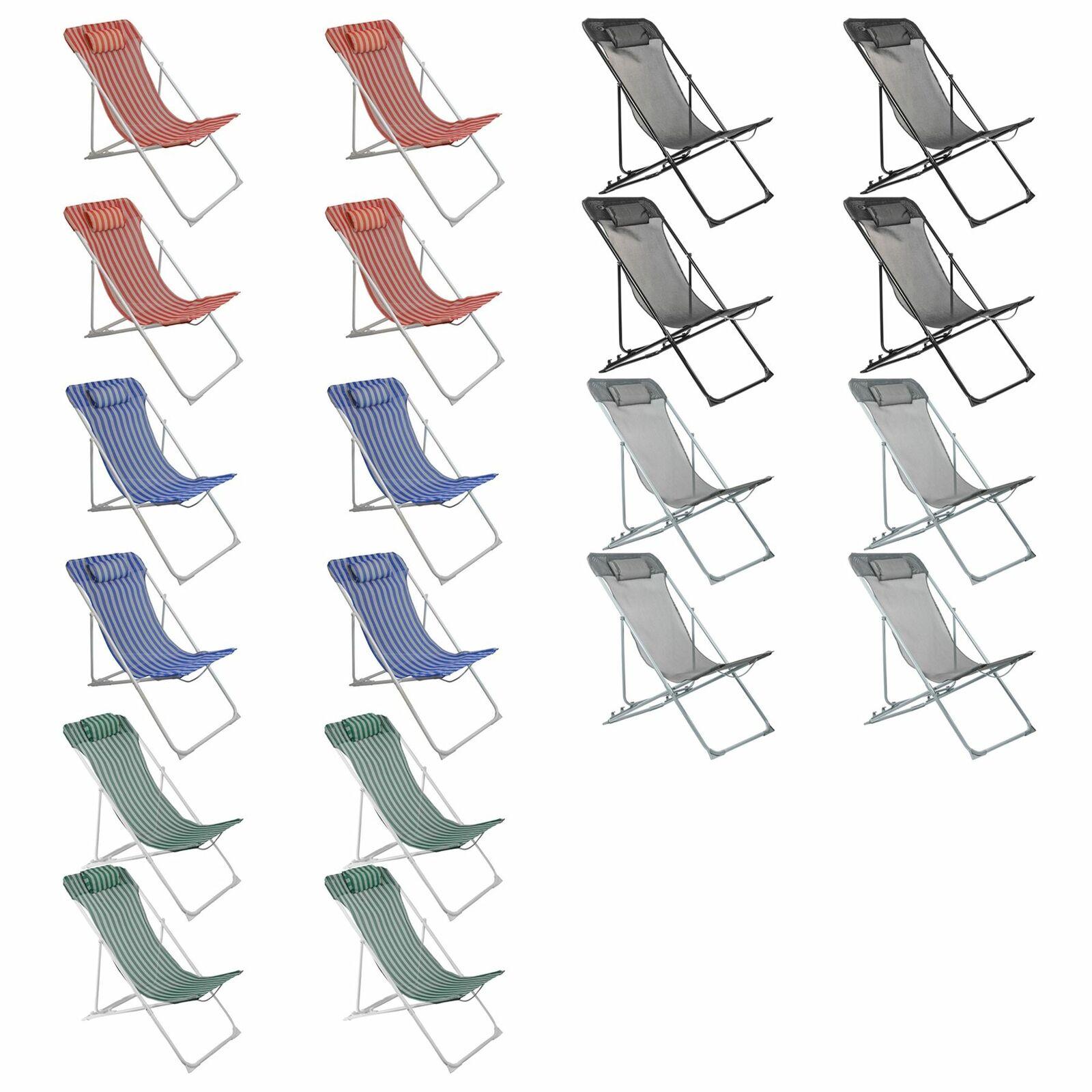4x silla de cubierta jardín de metal ajustable REPOSACABEZAS Portátil Plegable