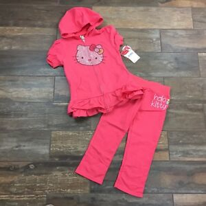 34dfd5fd7 Hello Kitty Girls 2 PC Coral Hoodie Sweatshirt & Pants Size 7, 8, 10 ...