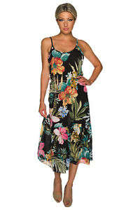 Trägerkleid Maxikleid lang elegant Muster Einheitsgröße 34 36 38 Party Neu Kleid