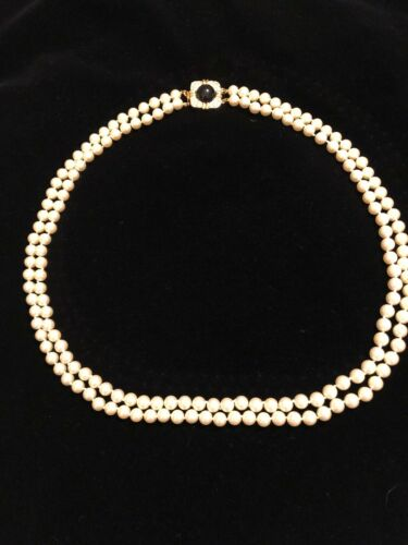 Vintage Joan Rivers Double Pearl Strand With Onyx
