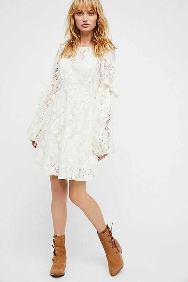 NEW FREE PEOPLE  IVORY LACE TIE SLEEVE RUBY MINI DRESS SZ M MEDIUM