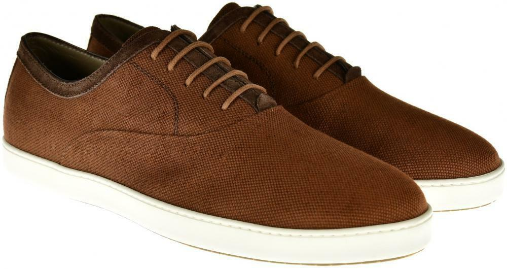 Brioni Dress Shoes Canvas  Suede Trim 12   45 EU Brown 03SO0135  695