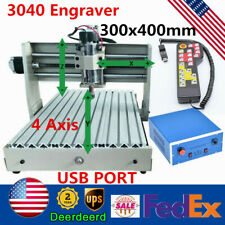 New Listingusb 4 Axis Cnc 3040 Engraver Wood Pcb Milling Drilling Router Machine 400wrc